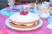 The other star of the Tea Table is a Victoria Sponge Cake. This is a Raspberry Jam Cake. Amazing! I will post the recipe.