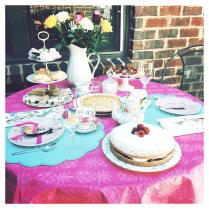 Set a pretty Tea Table ~ I set up outside in my courtyard. Luckily the weather cooperated! Use your prettiest serving pieces. And, remember to have flowers!